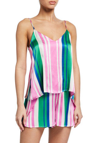 Hesper Fox Francesca Striped Silk Camisole