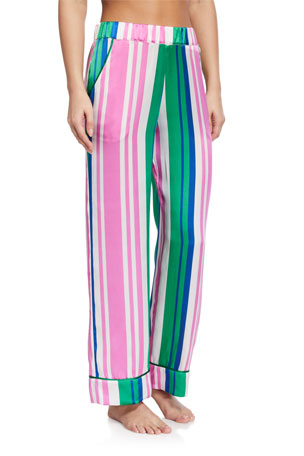 Hesper Fox Evie Striped Silk Pajama Pants