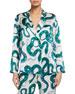 Hesper Fox Dietrich Snakes-Print Silk Pajama Set