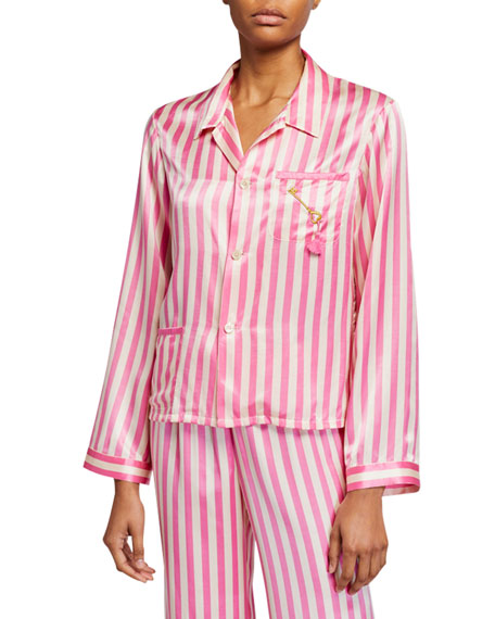 Morgan Lane Ruthie Striped Silk Pajama Top