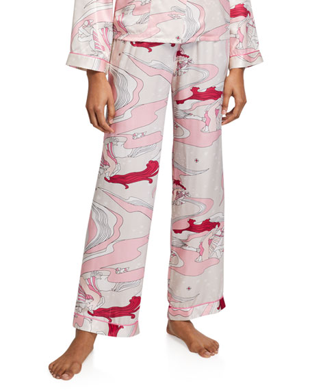 Morgan Lane Chantal Swirl Silk Pajama Pants