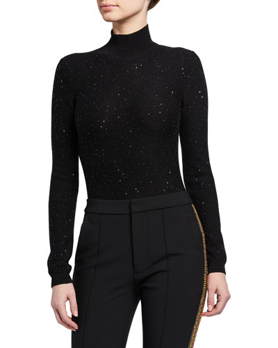 Shimmer Knit Mock-Neck Bodysuit