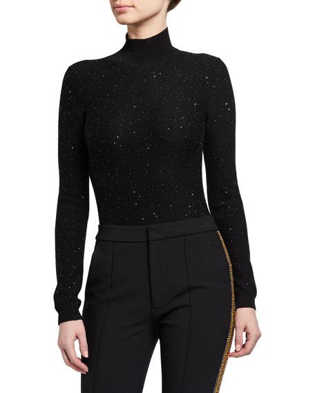 Area Shimmer Knit Mock-Neck Bodysuit