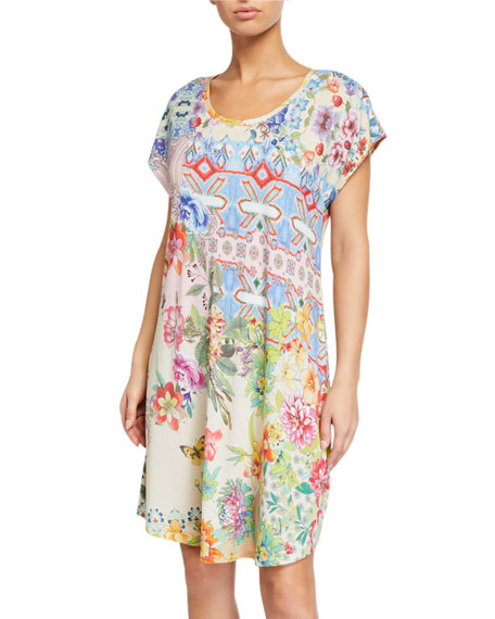 Johnny Was Dreamer-Print Cap-Sleeve Nightgown