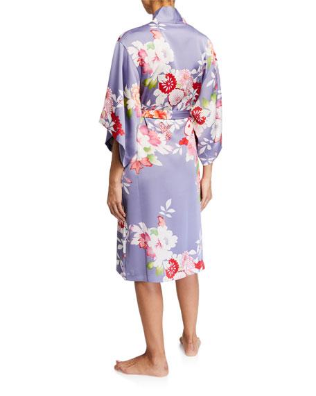 Natori Winter Peony Floral-Print Robe
