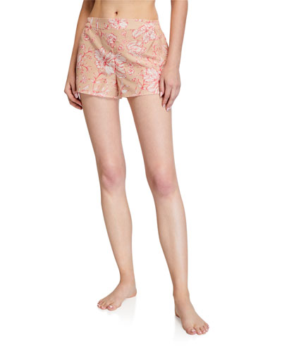 Florentine Floral-Print Silk-Blend Sleep Shorts