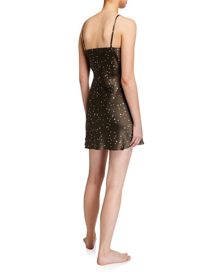 Ginia Orion Dot-Pattern Silk Chemise