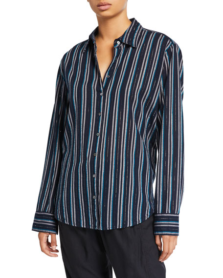 Image 1 of 2: Xirena Beau Striped Lounge Shirt