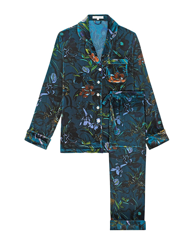 OLIVIA VON HALLE   Blue Lila Floral-Print Silk-Velvet Pajama Set