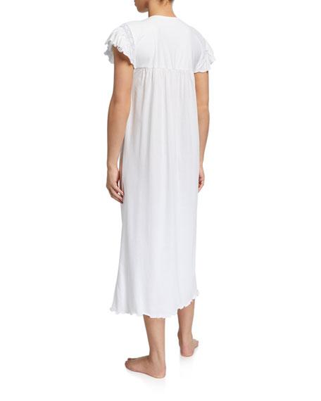 P Jamas Katia Ruffle-Sleeve Nightgown