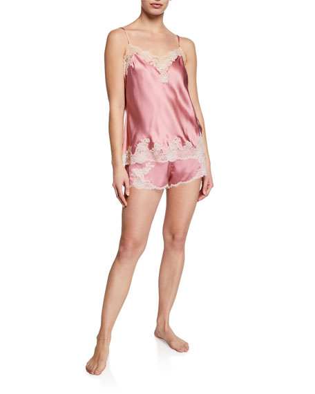 Josie Natori Lolita Lace-Trim Silk Shorts