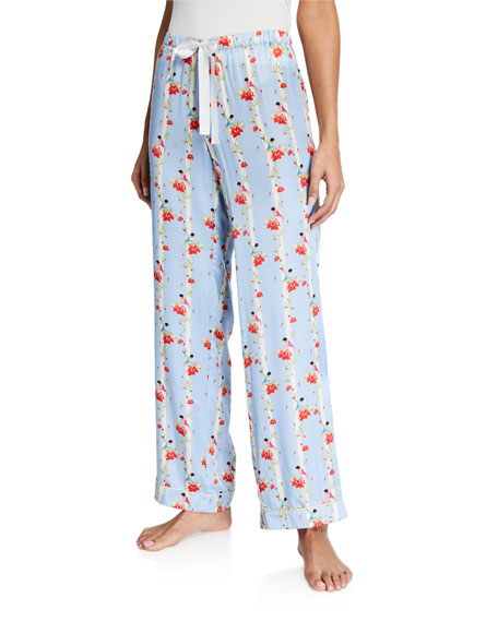 Morgan Lane Chantal Floral Stripe Silk Pajama Pants