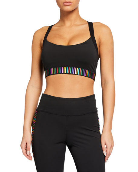 Pam & Gela Metallic Rainbow Cross-Back Sports Bra