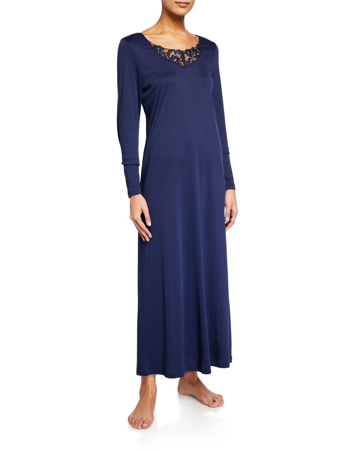 Hanro Najuma Lace-Yoke Long-Sleeve Nightgown