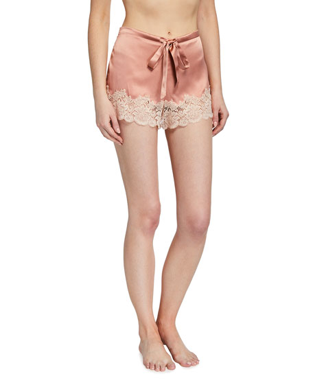 Ginia Pick-and-Mix Lace-Trim Silk Shorts