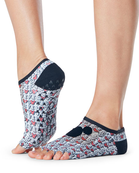 ToeSox Luna Disney Love Mickey Grip Half-Toe Socks for Yoga/Pilates/Barre