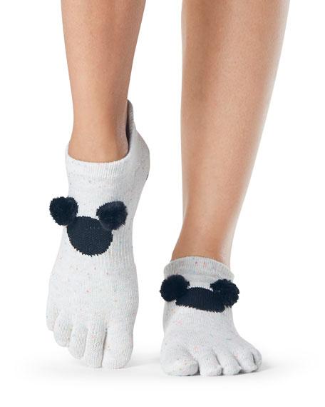 ToeSox Pompom Low Rise Full-Toe Grip Socks