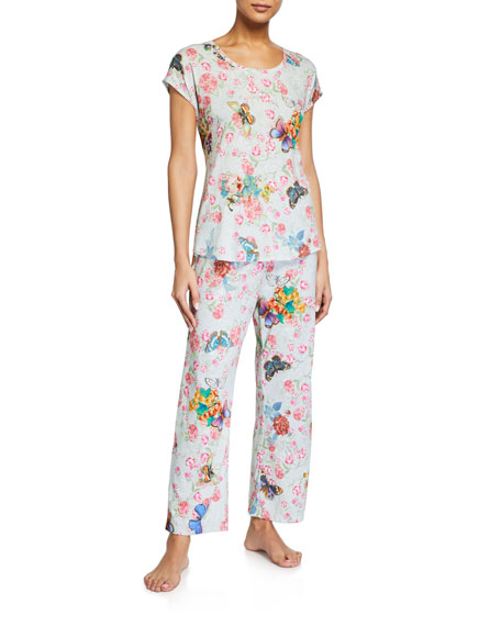 Johnny Was Floral-Print Cropped Pajama Set