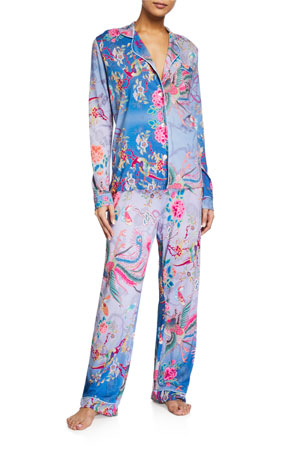 Johnny Was Floral-Print Long-Sleeve Sleep Set