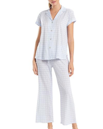 Lattice Print Short-Sleeve Pajama Set