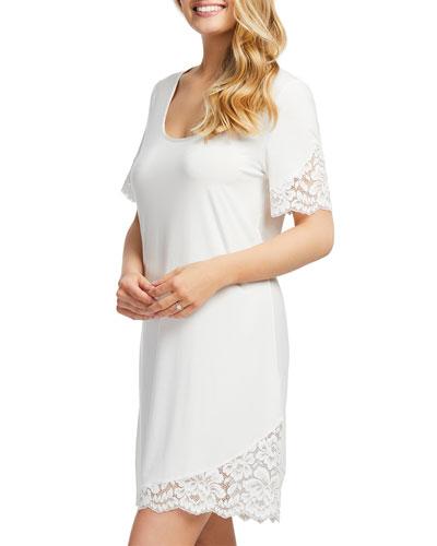 Short-Sleeve Lace-Trim Jersey Nightshirt