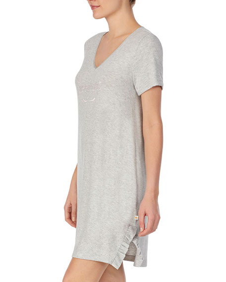 Image 2 of 3: kate spade new york goodnight ruffle-trim jersey sleepshirt