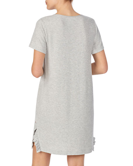 Image 3 of 3: kate spade new york goodnight ruffle-trim jersey sleepshirt