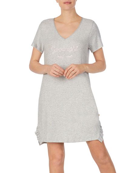 Image 1 of 3: kate spade new york goodnight ruffle-trim jersey sleepshirt