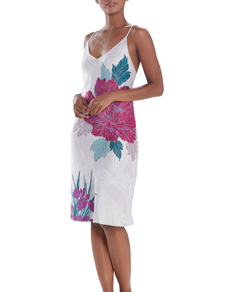 Image 1 of 2: Natori Jubako Floral Print Satin Nightgown