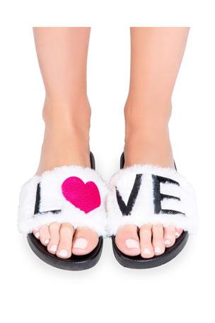 PJ Salvage Love Faux-Fur Slide Slippers