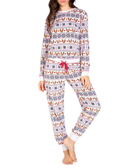 Frenchie dog print long sleeve pyjama