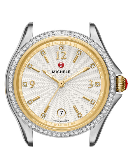 37mm Belmore Stainless Steel & 18K Watch Head with Diamonds