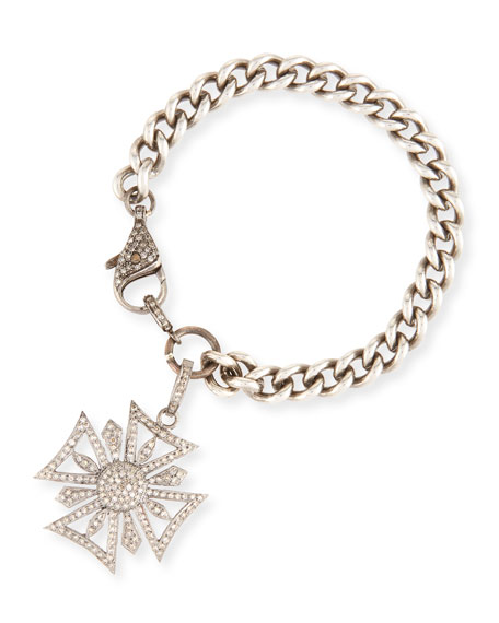 Curb Chain Bracelet with Diamond Maltese Cross Charm