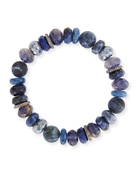 Sheryl Lowe 10mm Beaded Bracelet with Diamonds, Blue