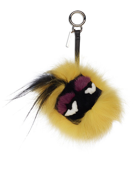 Fur Monster Charm for Handbag, Yellow