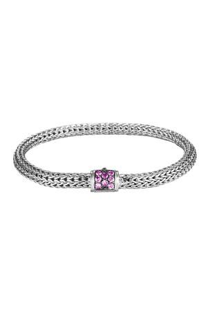John Hardy Classic Chain Extra-Small Braided Silver Bracelet, Amethyst