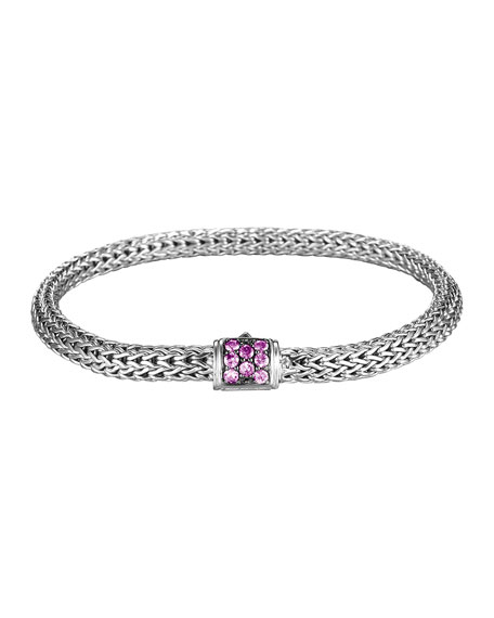 Classic Chain Extra-Small Braided Silver Bracelet, Amethyst