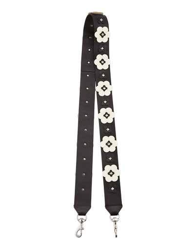 Floral Appliqué Guitar Strap for Handbag, Black