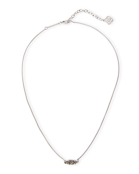 Kendra Scott Bridgete Druzy Pendant Necklace, Metallic Silvertone