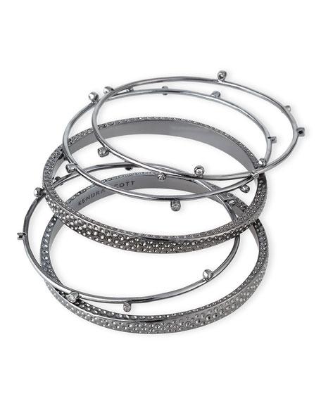 Tatum Stacking Bracelets, Gray Metallic, Set of Five