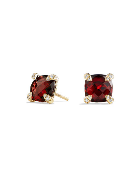 8mm Châtelaine Garnet Earrings with Diamonds