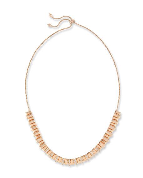 Harper Staggered Collar Necklace, Pink Metallic