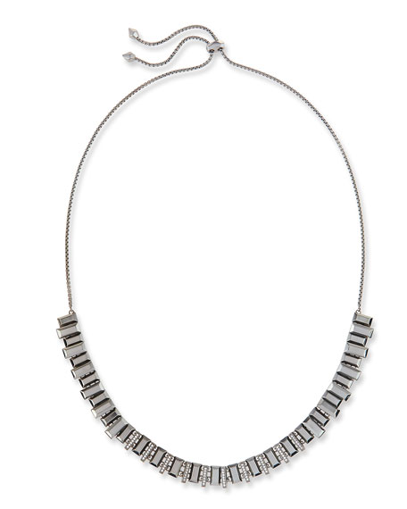 Harper Staggered Collar Necklace, Gray Metallic