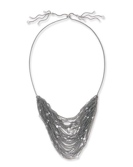 Kendra Scott Anastasia Multi-Row Chain Necklace, Gray Metallic