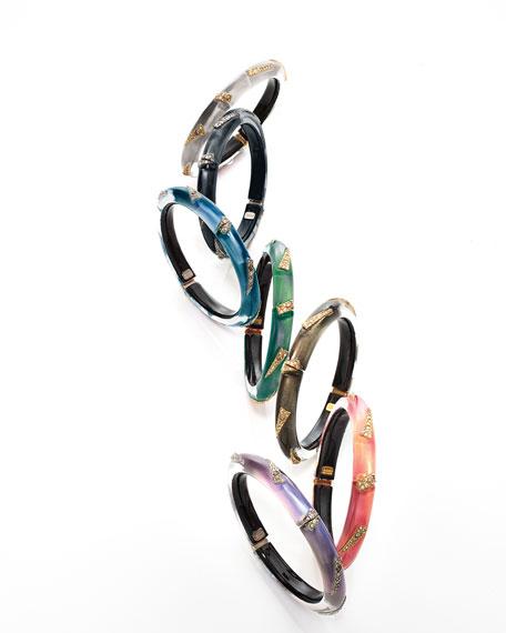 Origami Hinge Bracelet, Black/Silvertone