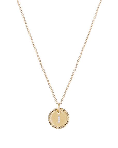 Initial J Cable Collectible Necklace with Diamonds
