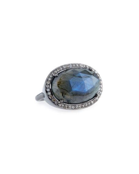 Labradorite Ring with Diamonds, Size 7
