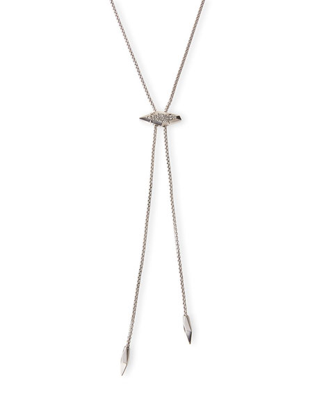 Cheska Lariat Necklace, Silvertone