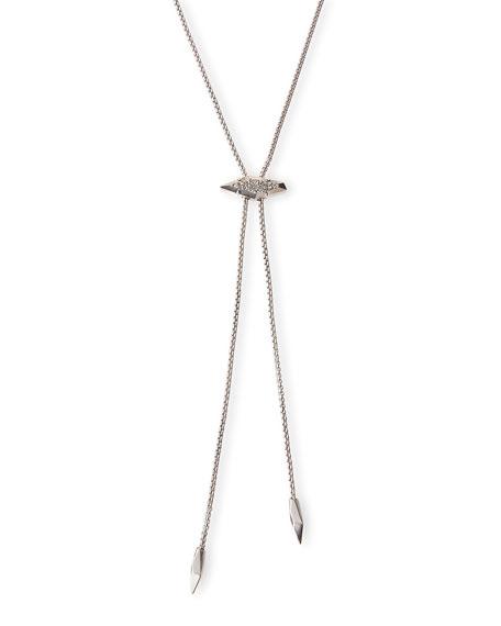 Cheska Lariat Necklace, Silvertone