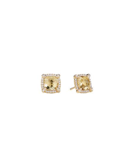 Châtelaine 8mm Champagne Citrine Diamond Earrings